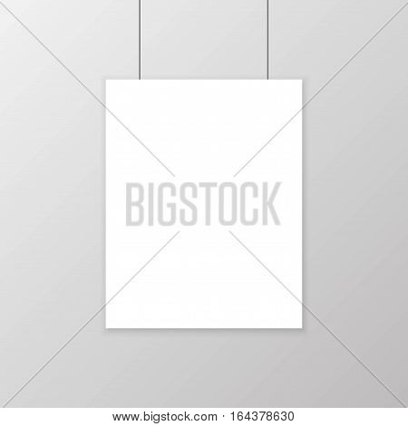 Realistic Blank White Paper Poster Hanging On Wall Mockup. Template Page Of Banner For Exhibition. V