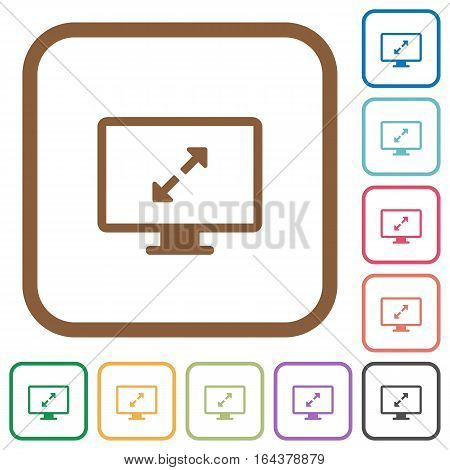 Adjust screen resolution simple icons in color rounded square frames on white background