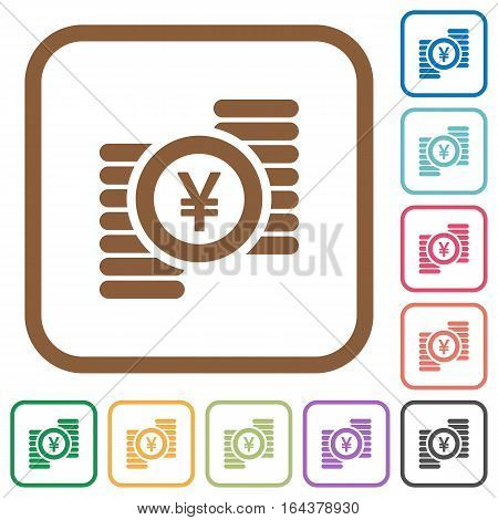 Yen coins simple icons in color rounded square frames on white background