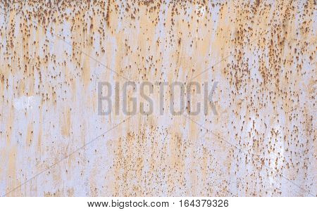 Sheet of Rusty Metal with Oxide Iron. Grunge Background of Metalic Plate Surface with grey Empty Copy Space.