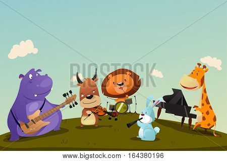 A vector illustration of Animals Playing Music Instrument in a Band