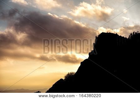 Silhouette of Stavrovouni Monastery at sunset. Larnaca District Cyprus