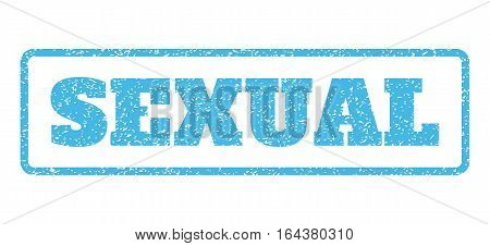 Light Blue rubber seal stamp with Sexual text. Vector tag inside rounded rectangular frame. Grunge design and scratched texture for watermark labels. Horisontal emblem on a white background.