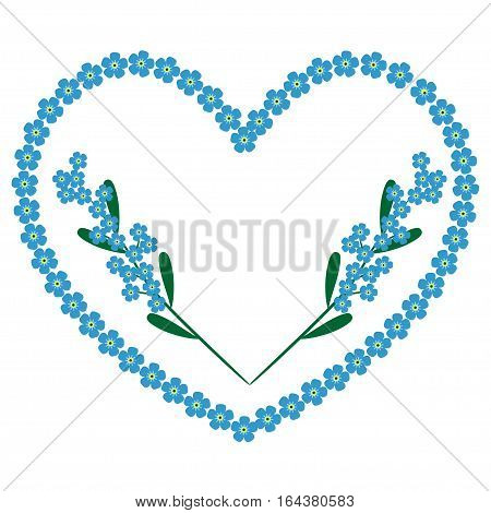 forget-me-nots heart background with branches of flowers, isolated