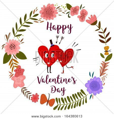 Happy Valentines day card with hearts and floral wreath- stock vector