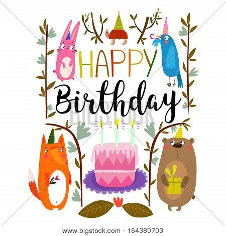 Vector Happy Birthday card with cute rabbit bird turtle fox and bear. Birthday greeting card design. Can be used also as background poster banner cover and more- stock vector