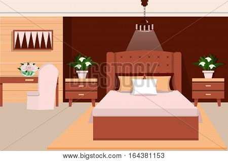 Interior bedroom furniture bed, bedside table, table, chair, chandelier and flowers. Flat style. Vector illustration