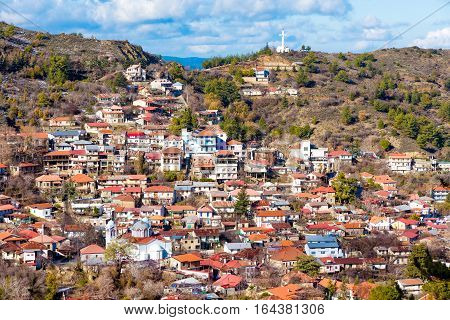 Panoramic view of mountain village of Pedoulas. Nicosia District Cyprus.