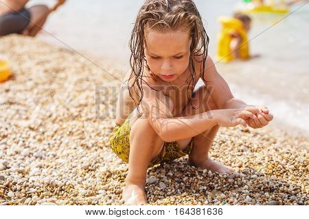 Little boy collects pebbles on the beach