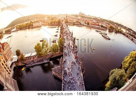 Charles Bridge looking towards the Castle Royal Palance and Vitus Cathedral. Prague Czech Republic.