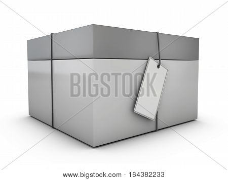 Product Cardboard Package Box With Lable. 3D Illustration Isolated On White Background.