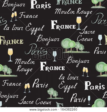 Travel France tile background. Paris city seamless pattern. Handwritten lettering on charkboard trees wine glasses. French cuisine cafe decoration concept