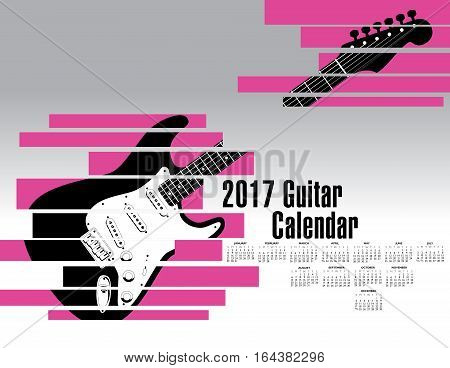 A 2017 calendar with an abstract shredded guitar for Print or Web