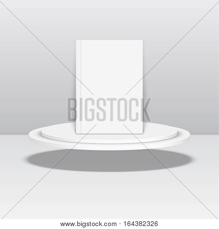 Empty blank oval hovering on the podium. Vector pedestal. Magazine, book, brochure, flyer, a4 letterhead, folder leaflet booklet