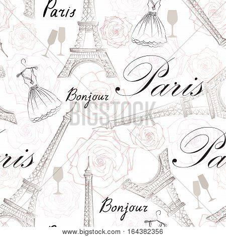 Paris city landmark Eiffel Tower and handwritten lettering PARIS seamless pattern. Travel France tile background