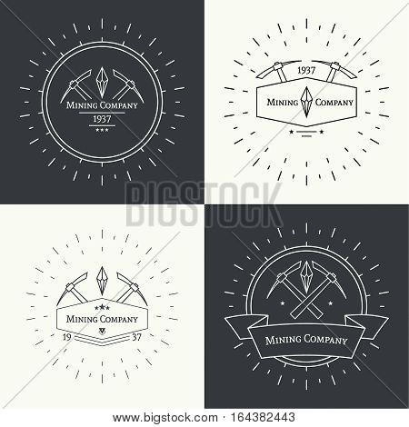 Set Hipster vintage banner. With crystal and pick, mining. Outline