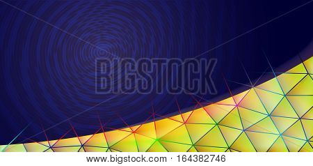 Triangular corner background. Blue and yellow. Spiral. Colorful bright. Disco, music, party. Rays of light