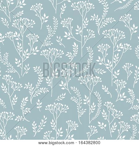 Floral pattern with branch and leaves. Fall grass blade ornamental seamless background. Nature herb branch ornamental doodle white pattern