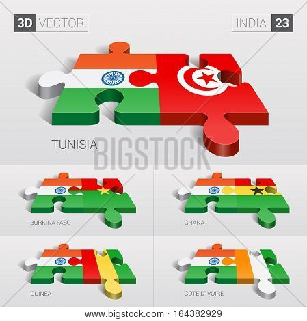 India puzzle part joint with Tunisia, Burkina Faso, Ghana, Guinea, Cote d'Ivoire.