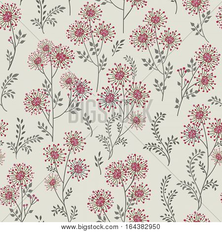 Floral pattern with leaves and flowers. Ornamental herb branch seamless background. Nature plant ornament