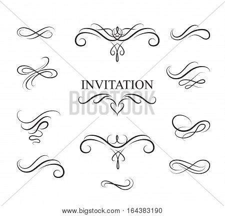 Calligraphic flourish design elements. Page decoration vignette set in retro style. Elegant vintage borders and dividers for greeting card retro party wedding invitation.