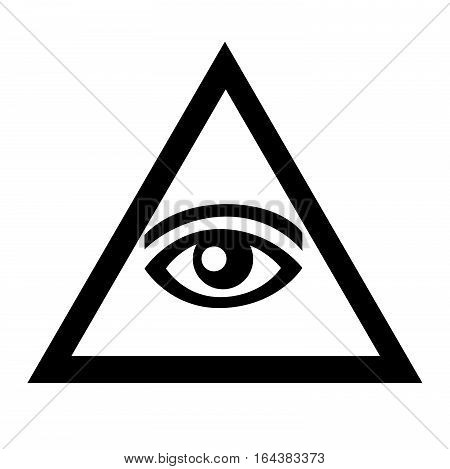 The eye in the triangle. Black-and-white sign with symbols of Freemasonry. Vector icon with the pyramid.