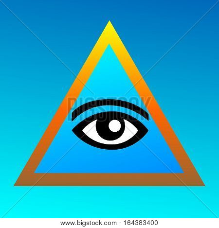 Symbolism of Freemasonry on a blue background. Eye in the Golden Triangle. Pyramid. Beautiful vector sign