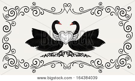 Black birds in love with floral decoration. Couple of swans silhouette. Two love hearts concept illustration. Good for wedding St Valentine greeting card decor marriage annivesary design background.