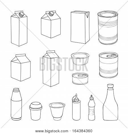 Food packaging set. Different package outline doodle drawn icon collection.