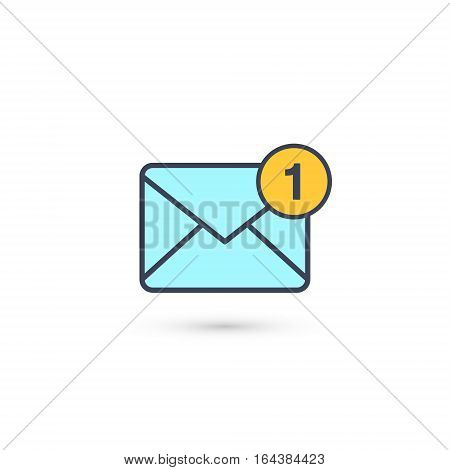 New incoming message envelope with one notification, vector blue object.