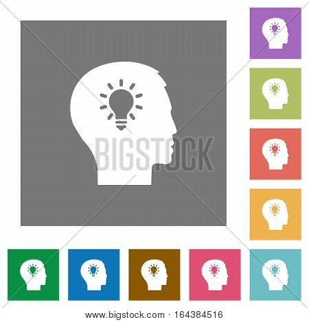 Idea flat icons on simple color square backgrounds
