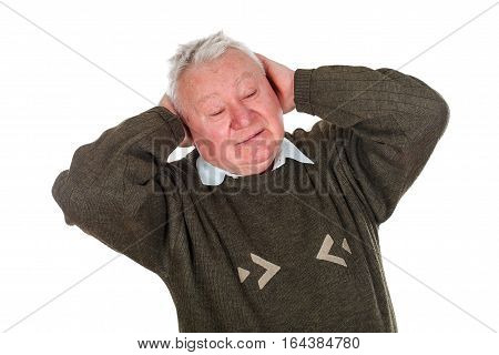 Picture of an old man having a serious headache - isolated background