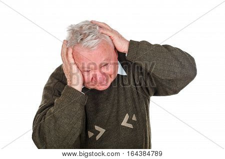 Picture of an elderly man being anxious because of his medical diagnosis