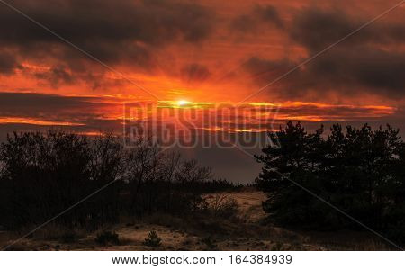 Fiery orange sunset colorful and speckled clouds. Beautiful sky.