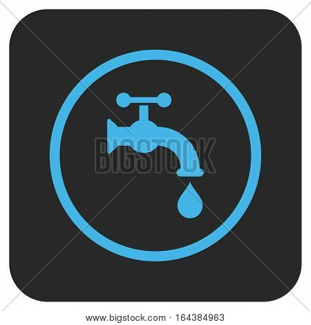 Water Tap glyph icon. Image style is a flat icon symbol inside a rounded square button blue and gray colors.
