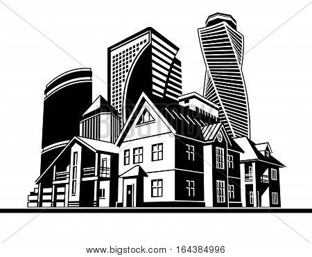 several houses and high-rise buildings, vector graphic arts