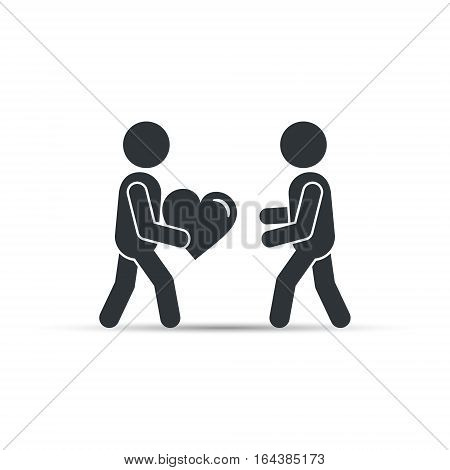 Man giving heart love icon, vector simple silhouette illustration.