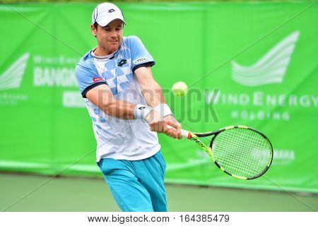 BANGKOK - JANUARY 08 : Blaz Kavcic of Slovenia in Wind Energy Holding Bangkok Open 2017 (ATP Challenger Tour) at Rama Gardens Hotel on January 08 2017 in Bangkok Thailand.