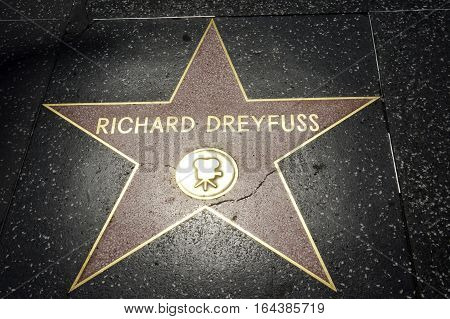 LOS ANGELES CALIFORNIA USA- JUN 01 2015 - richard dreyfuss's star at the Hollywood's Walk of Fame