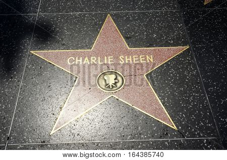 LOS ANGELES CALIFORNIA USA- JUN 01 2015 - charlie sheen's star at the Hollywood's Walk of Fame