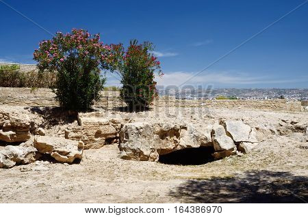 Ruins in archaeological park Tombs of the Kings, Kato Paphos,Cyprus island ,famous landmark,unesco heritage