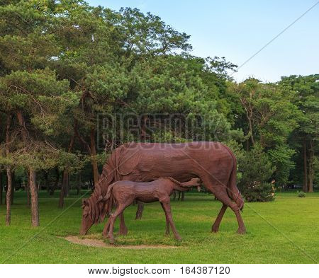 ROSTOV-ON-DON RUSSIA - JUNE 18 2016: Sculpture of the iron horses in the park of the city Rostov near airport