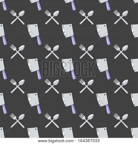 Knife for meat preparation and vintage seamless pattern steel tool. Kitchenware cooking equipment. Clever cutter with handle sharp blade flat vector illustration.