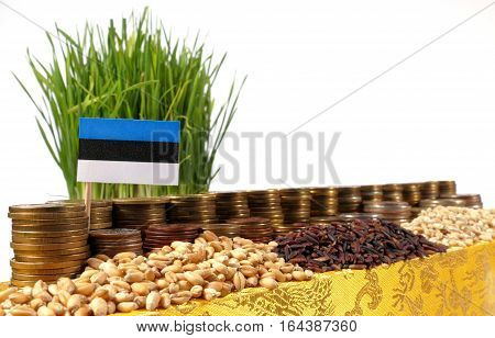 Estonia Flag Waving With Stack Of Money Coins And Piles Of Wheat And Rice Seeds