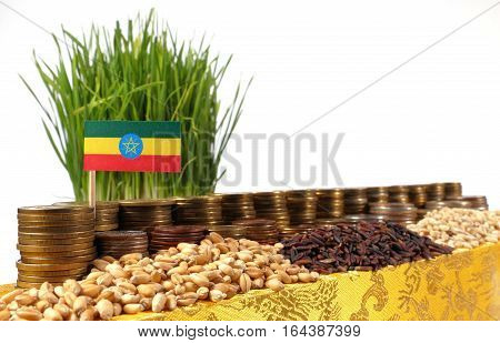 Ethiopia Flag Waving With Stack Of Money Coins And Piles Of Wheat And Rice Seeds