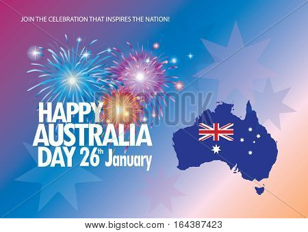 Happy Australia day 26 January inscription poster with Australia map and flag, stars and fireworks, sunburst on red background. Greeting card design. Festive Vector illustration.