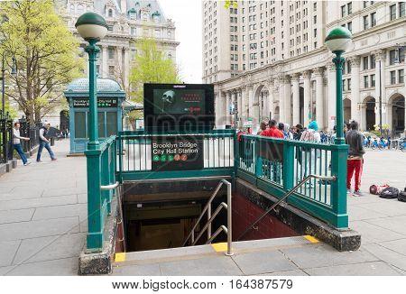 NEW YORK - APRIL 29 2016: Entrance of Brooklyn Bridge city hall station subway.