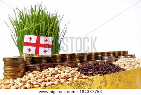 Georgia Flag Waving With Stack Of Money Coins And Piles Of Wheat And Rice Seeds