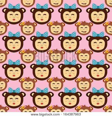 Happy cartoon vector monkey seamless pattern dancing party birthday. Jungle animals cartoon flat style. Chimpanzee nature funny character playful primate.