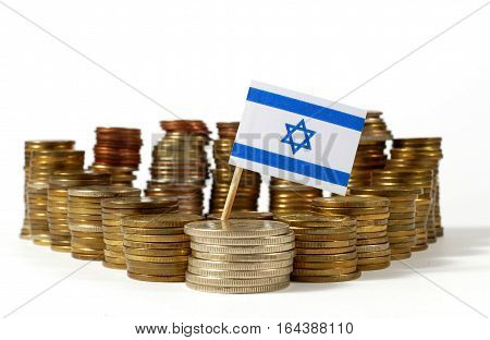 Israel Flag Waving With Stack Of Money Coins